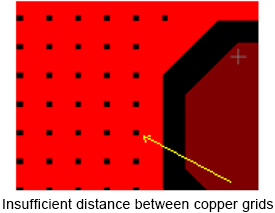 Insufficient distance between copper grids on PCBs | PCBCart