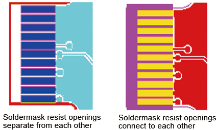 Solder Mask Resist Opening for IC Pads or Gold Finger Pads | PCBCart